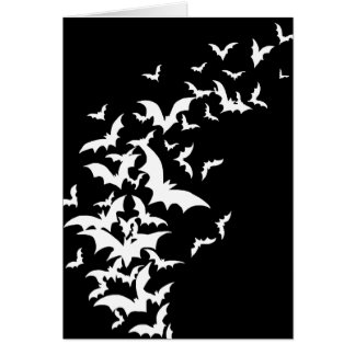 White Bats on Black Greeting Cards