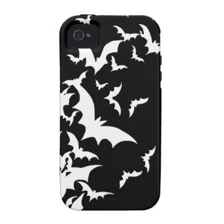 White Bats on Black iPhone 4/4S Case