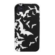 White Bats on Black iPhone 4/4S Case
