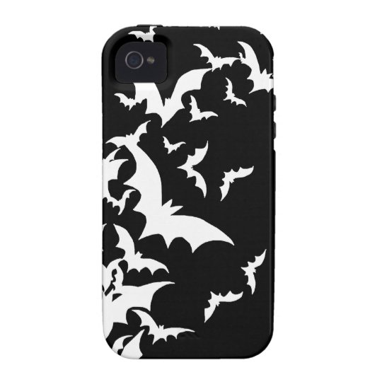White Bats on Black iPhone 4 Case