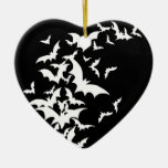 White Bats on Black Double-Sided Heart Ceramic Christmas Ornament