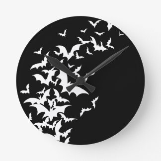 White Bats on Black Round Wallclocks