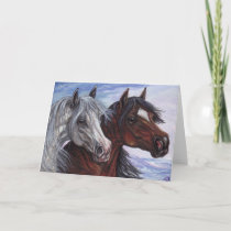 WHITE & BAY HORSE Note Card