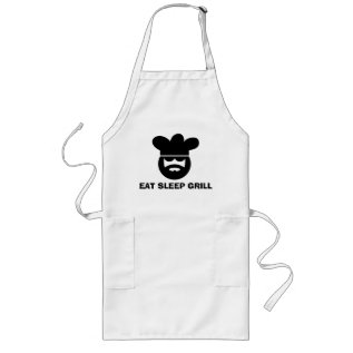 White Bbq Apron For Men | Eat Sleep Grill at Zazzle