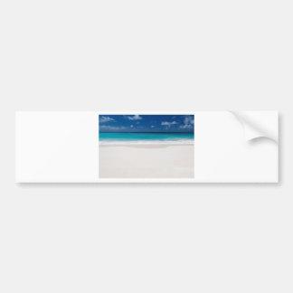 White Beach and Blue Sky Car Bumper Sticker