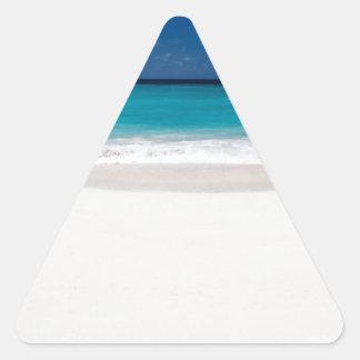 White Beach and Blue Sky Triangle Sticker