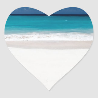 White Beach and Blue Sky Heart Sticker