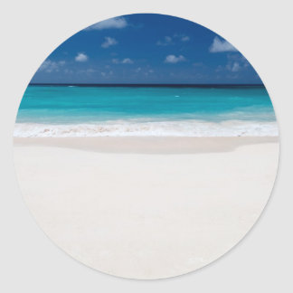 White Beach and Blue Sky Classic Round Sticker