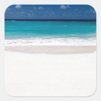 White Beach and Blue Sky Square Sticker