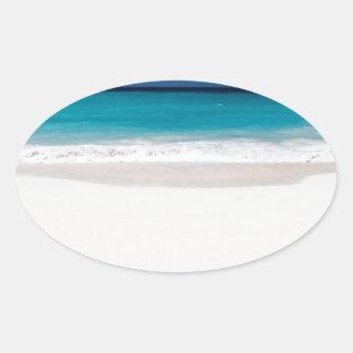 White Beach and Blue Sky Oval Sticker