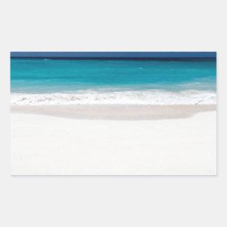 White Beach and Blue Sky Rectangular Sticker