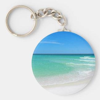White Beach Basic Round Button Keychain
