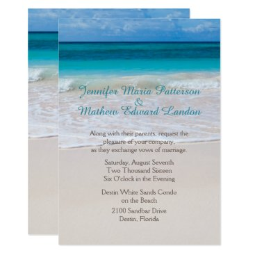 Beach Themed White Beach Custom Wedding Invitation