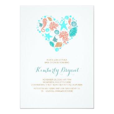 Valentines Themed White Beach Heart Nautical Coastal Baby Shower Card