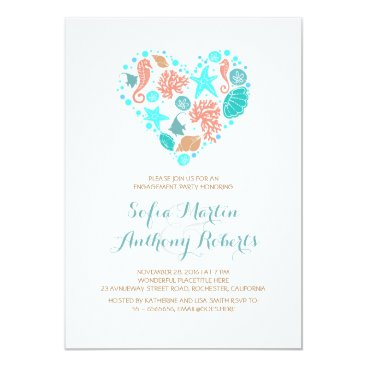 Beach Themed White Beach Heart Nautical Engagement Party Card