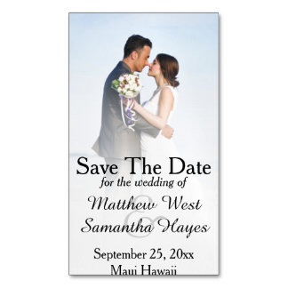 White Beach Mist Photo Wedding Save The Date Magnetic Business Cards (Pack Of 25)