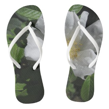 Beach Themed White Beach Plum Rose Flip Flops