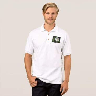 Beach Themed White Beach Plum Rose Polo Shirt