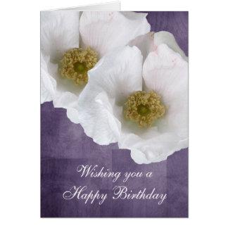 White Beach Rose Birthday Card