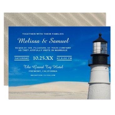 Beach Themed White Beach Sand Scenic Lighthouse Wedding Invite