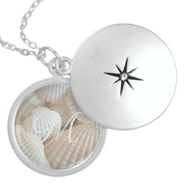 Beach Themed White Beach Shells Summer Tropical Exotic Locket Necklace