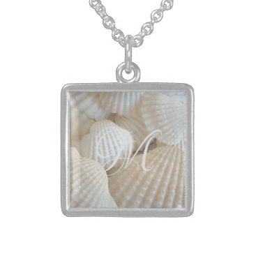 Beach Themed White Beach Shells Summer Tropical Exotic Sterling Silver Necklace