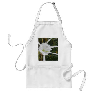 White Beach Spider Lily Lilies Flower Photo Adult Apron