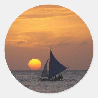 White Beach Sunset Round Sticker