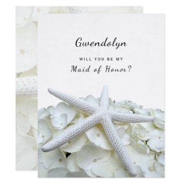 White Beach Wedding Be My Maid of Honor Card
