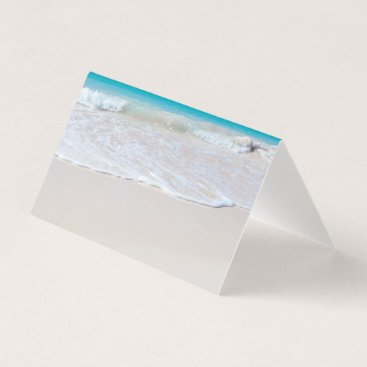 Beach Themed White Beach Wedding Folded Place Card