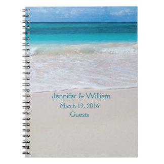 White Beach Wedding Guest Sign In Spiral Notebook