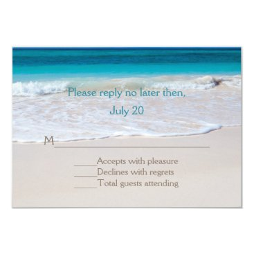 Beach Themed White Beach Wedding RSVP Card
