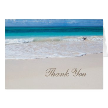 Beach Themed White Beach Wedding Thank You Note Card