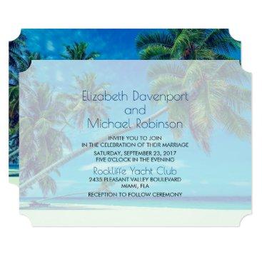 Beach Themed White Beach with Tropical Palms Wedding Card