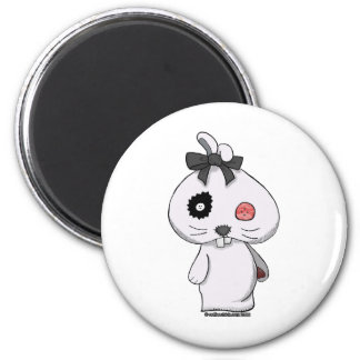 White Beanbag Bunny 2 Inch Round Magnet