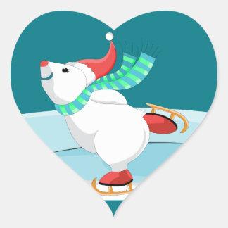 white bear skating heart sticker