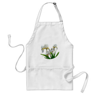 White Bearded Iris Blossoms Adult Apron