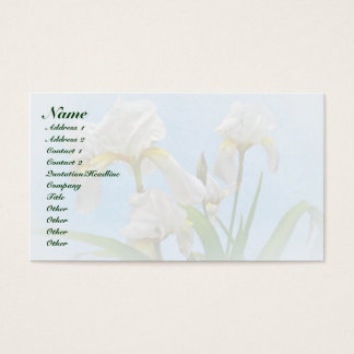 White Bearded Iris Blossoms Business Card