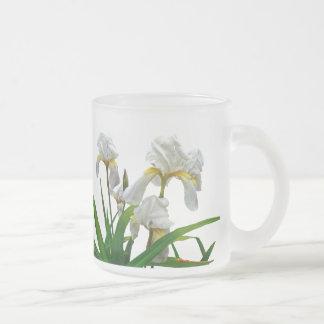 White Bearded Iris Blossoms 10 Oz Frosted Glass Coffee Mug
