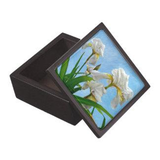 White Bearded Iris Blossoms Premium Jewelry Boxes