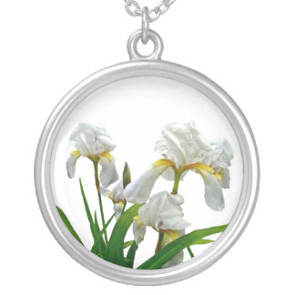 White Bearded Iris Blossoms Silver Plated Necklace