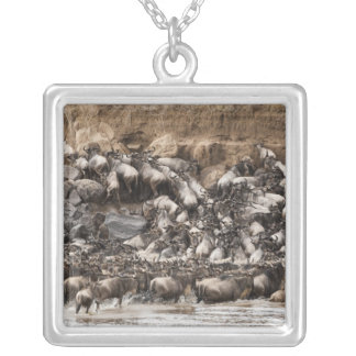 White-bearded Wildebeest or Gnu, Connochaetes Silver Plated Necklace