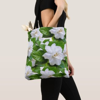 White beautiful gardenia flowers background tote bag