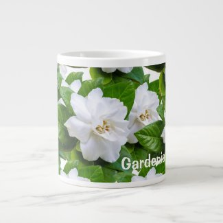 White beautiful gardenia flowers pattern giant coffee mug