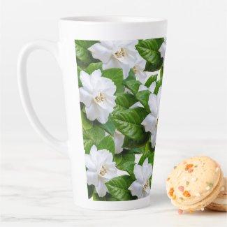 White beautiful gardenia flowers pattern latte mug