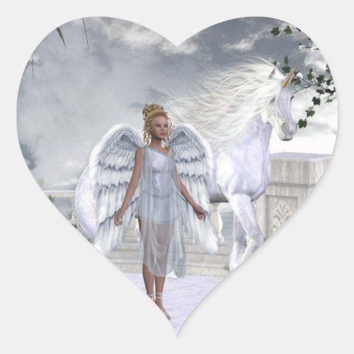 White Beauty Unicorn Angel Heart Sticker