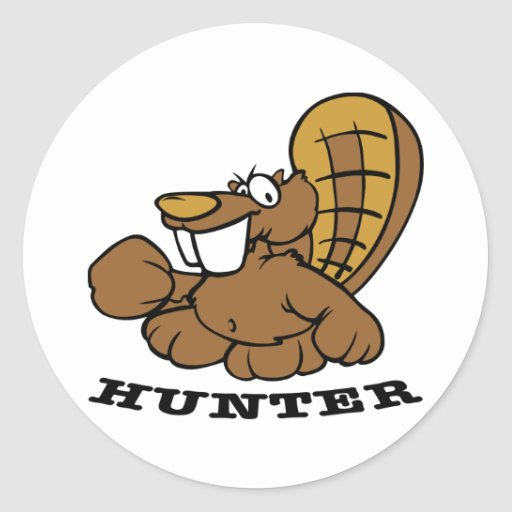 White Beaver Hunter Round Sticker