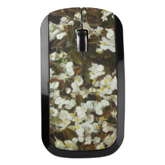 White Begonia Flowers Wireless Mouse