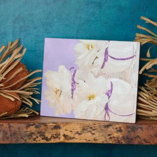 White Begonias Still Life Photo Plaque