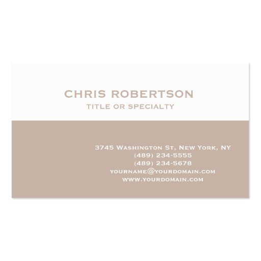 White Beige Modern Simple Plain Business Card